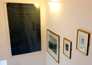 "The facing plaque, dedicated May 8, 2014 at the Keats-Shelley House, Rome, recognizes donors who contributed to the ""Centenary Appeal"" for the expansion and upgrading of the museum facilities"