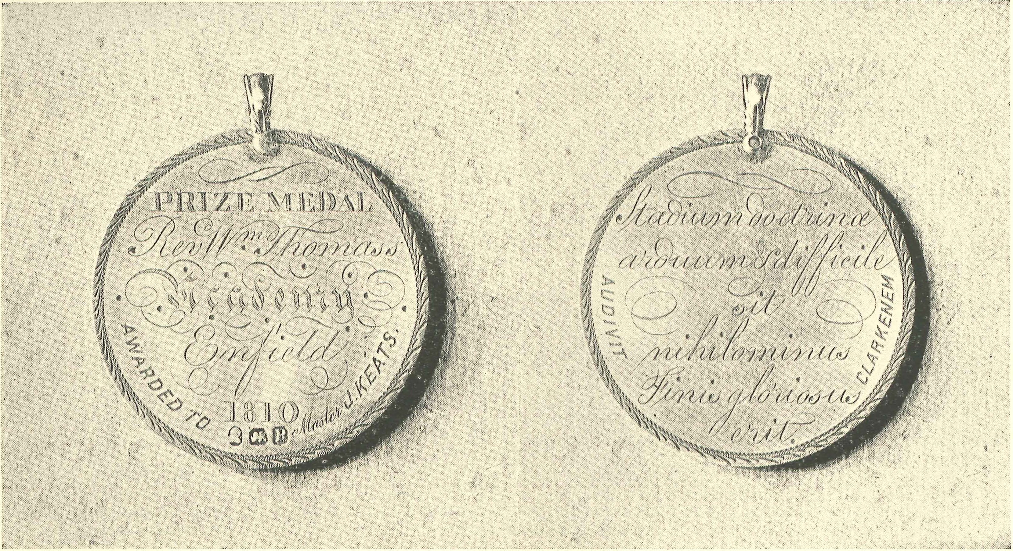 keats shelley association of america awards grants a silver prize medal awarded to john keats in 1810 by rev william thomas pastor of the independent congregation at enfield where keats studied